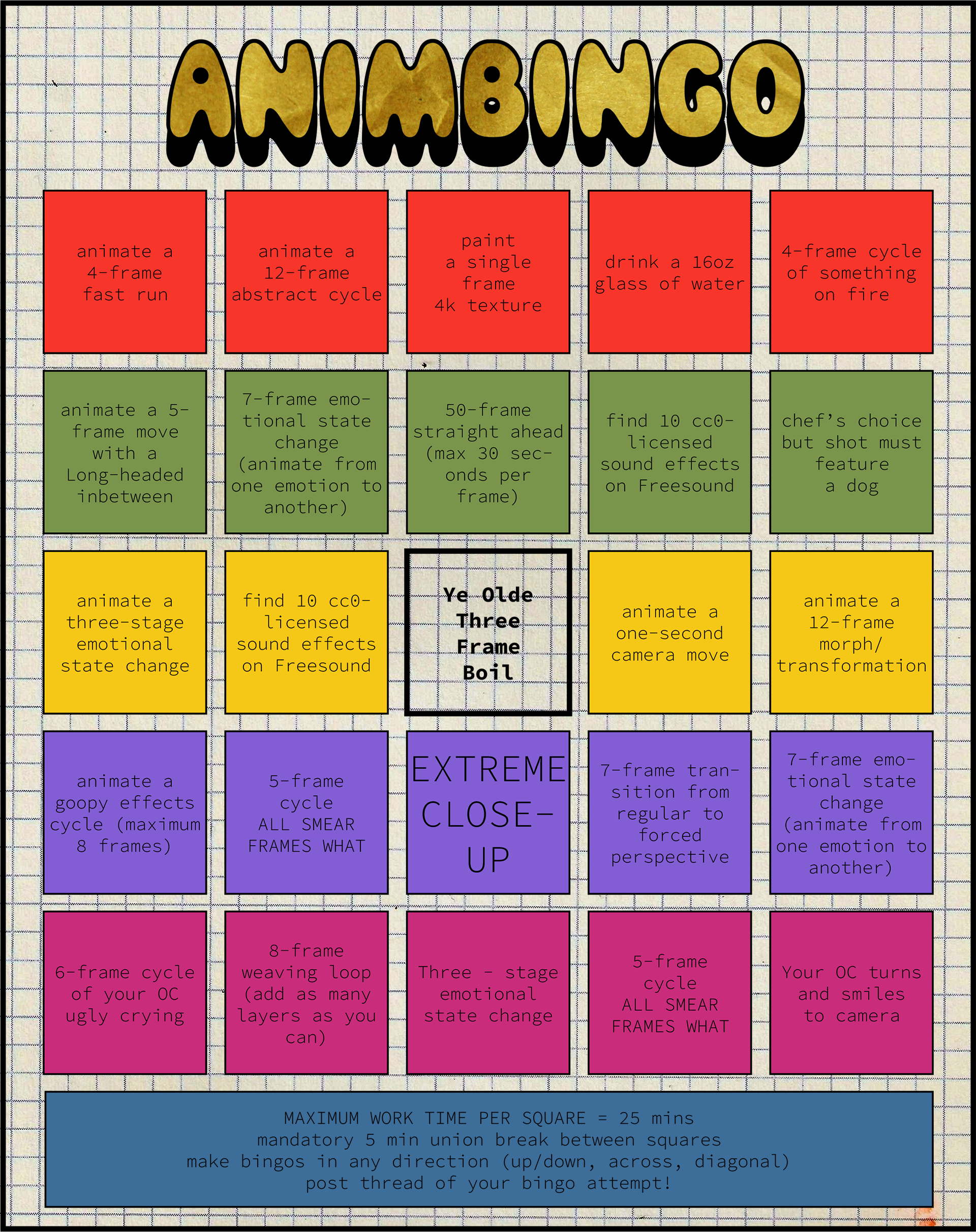 the animbingo board